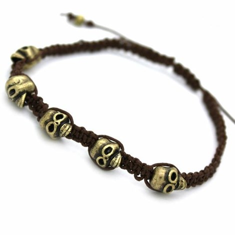 Antique Gold Skull Friendship Bracelet- On Brown braided strap